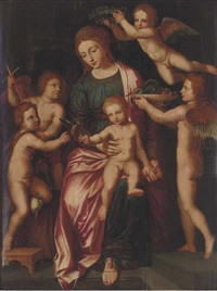 the virgin and child with the infant saint john the baptist and three putti by vincent sellaer