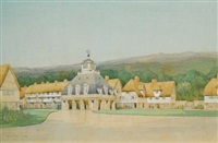 design for a village square, an ideal project by cyril arthur farey