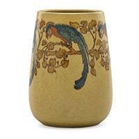 rare vase decorated with parrots by arthur e. baggs