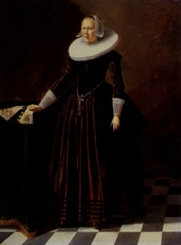 portrait of a lady in an interior standing by a table, wearing a red satin dress, embroidered bodice and white ruff and headdress by gerard van donck