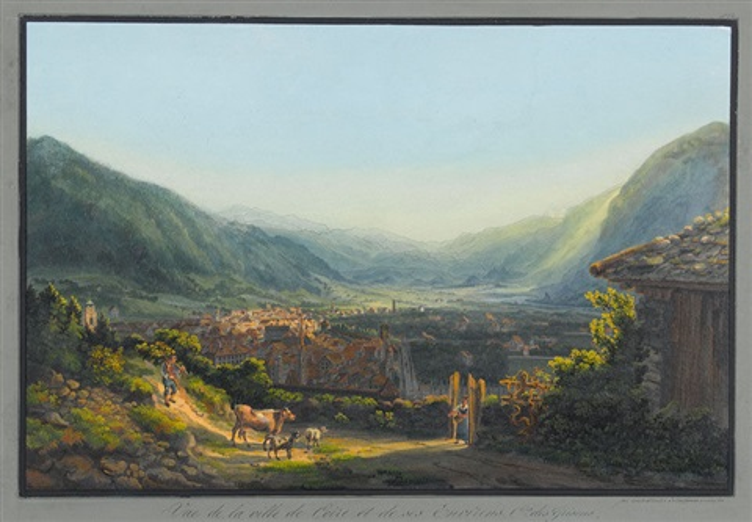 vue de la ville de coire et de ses environs cn de grisons by johann ludwig louis bleuler
