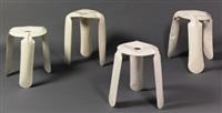 gruppe aus vier prototyp plopp hockern by oskar zieta