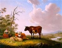 melkmeisje met vee bij een rivier by matthijs quispel