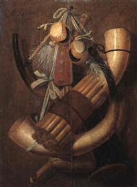 still life with hunting horns, powder flask and shot bags by antonius leemans