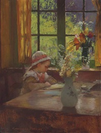 a young girl with bonnet reading by a window by gaston la touche