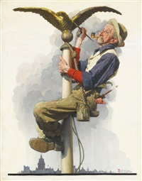 man painting flagpole (gilding the eagle) by norman rockwell
