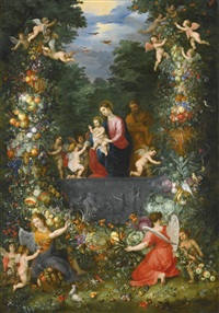 the holy family within a garland of fruit, flowers and vegetables held by angels by hendrick van balen the elder and jan brueghel the younger