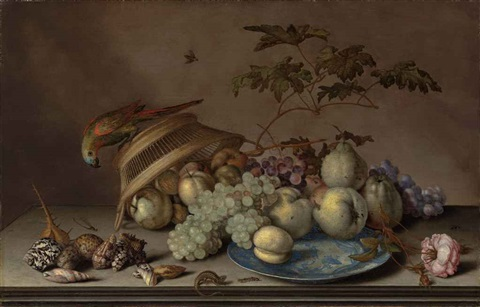 pears grapes and a peach on a porcelain platter with apples a rose shells a dragonfly a caterpillar and a lizard on a stone ledge by balthasar van der ast