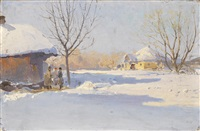 ukrainian village in winter by sergei ivanovich vasil'kovsky