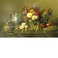 still life with flowers, bird nest, wine glass and ewer on a ledge by thomas f. heesakkers