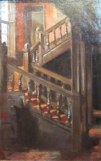 staircase and stained glass by patrick william adam