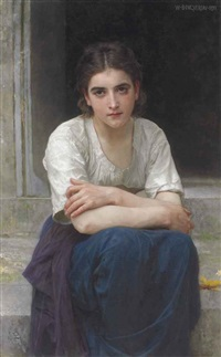 rêverie sur le seuil by william adolphe bouguereau