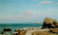 artist with his easel on the shore by archibald cary smith