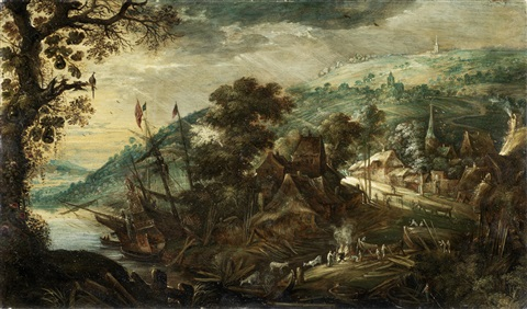 figures around a fire before an extensive river landscape with a ship moored in the distance by kerstiaen de keuninck