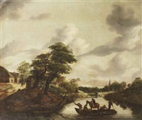 a river landscape with figures and a horse on a ferry by gerrit van hees