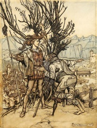 the young prince said, i am not afraid; i am determined to go and look upon the lovely briar rose by arthur rackham