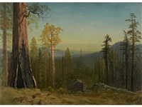 view through the trees by albert bierstadt