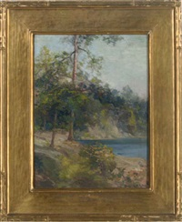 a wooded lake by bayard henry tyler
