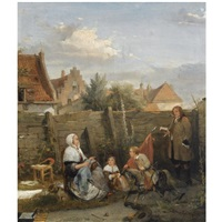 a family gathering on a sunny afternoon by david joseph bles
