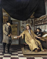 a notary in his office handing deeds to a man, with a youth looking on by job adriaensz berckheyde