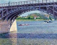 le pont d'argenteuil et la seine by gustave caillebotte