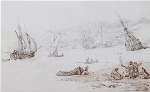figures in on the beach by thomas rowlandson