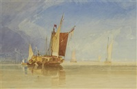 hay barge in a calm by miles edmund cotman