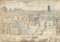 view of the capitol with the church of santa maria aracoeli and the campidoglio, rome by lievin cruyl
