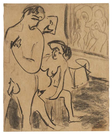 badendes paar im atelier by ernst ludwig kirchner