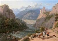 paysage de montagne, chemin animé longeant un torrent by philip hutchins rogers