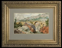 old bridge in pyrenees (near perignan) by hyacinthe alchimowicz