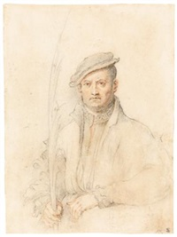 a man seated at a table, holding a palm by federico zuccaro