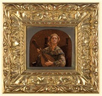lady playing lute by simeon buchbinder