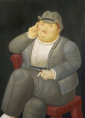 homme assis by fernando botero