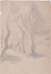 paysage aux grands arbres (+ nus dans un paysage, verso) by achille emperaire