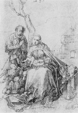 the holy family with angels by a tree by hans suess von kulmbach