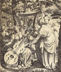 das konzert der musen auf dem parnass (after taddeus zuccaro) by hendrik hondius the younger