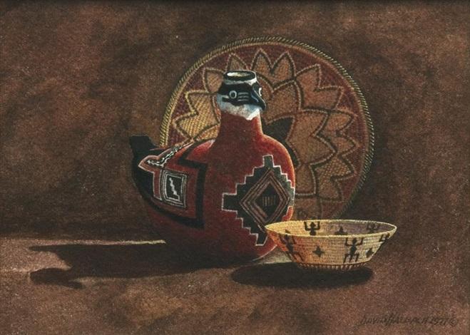 pottery and baskets still life by david allen halbach