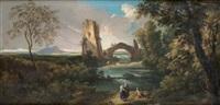 paysage au pont et à la tour avec des villageoises près d'une rivière by andrea locatelli