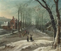 a winter village landscape with huntsman and travellers on a track by frans de momper