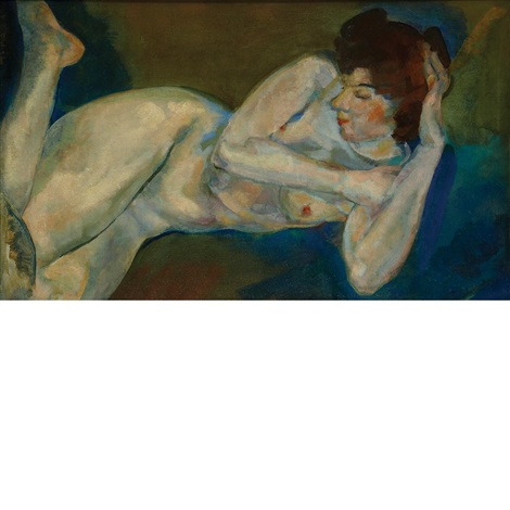 reclining female nude by arthur bowen davies