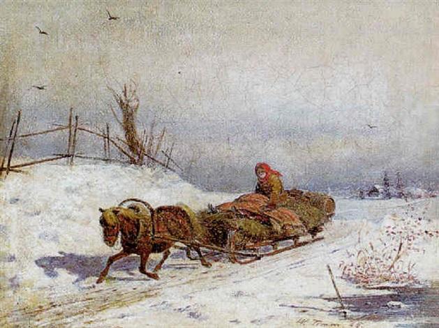 winterliche landschaft mit figürlicher staffage by vasili fedorovich george wilhelm timm