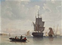 a dutch merchantman and other shipping drifting in light airs by william anderson