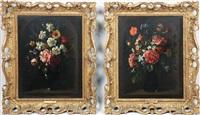 bouquets de fleurs dans des niches en trompe-l'oeil (pair) by gaspar pieter verbrüggen the elder