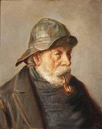 a pipe-smoking fisherman from skagen, denmark by michael peter ancher