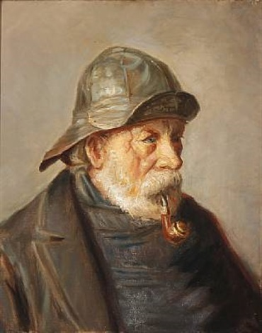 a pipe smoking fisherman from skagen denmark by michael peter ancher