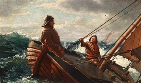 seascape with two fishermen in a boat in tall waves by carl jens erik c rasmussen