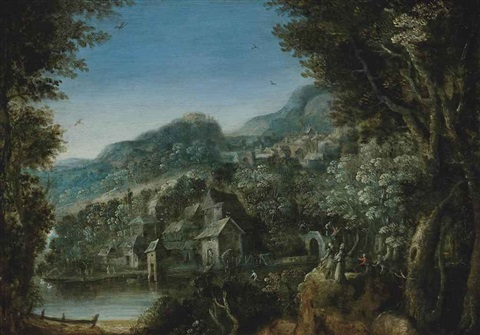 a wooded river landscape with villagers conversing by paul bril