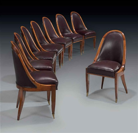 cuillernic dining chairs set of 8 by émile jacques ruhlmann