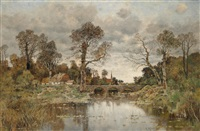 river landscape with stone bridge by karl heffner